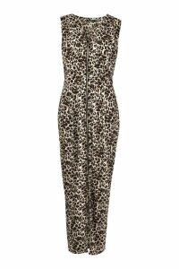 Womens Leopard Woven Zip Through Maxi Dress - beige - 10, Beige
