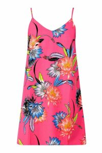 Womens Floral Print Slip Dress - Pink - 16, Pink