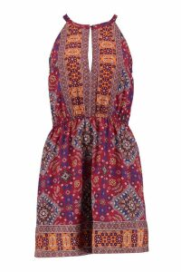 Womens Printed Keyhole Sun Dress - multi - 12, Multi