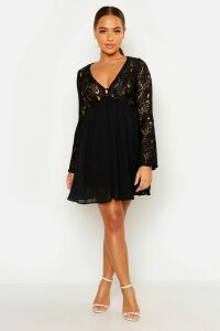 Womens Corded Lace Button Woven Smock Dress - black - 10, Black