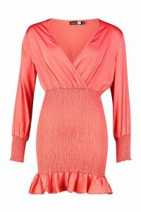 Womens Shirred Balloon Sleeve Mini Dress - orange - 14, Orange