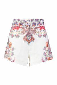 Womens Floral Paisley Print Shorts - white - M, White