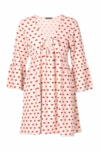 Womens Heart Print Tie Detail Smock Dress - Pink - 14, Pink