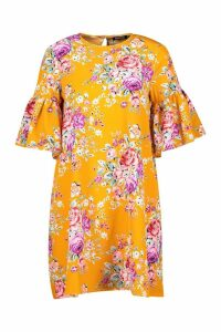 Womens Floral Round Neck Ruffle Sleeve Shift Dress - yellow - 12, Yellow