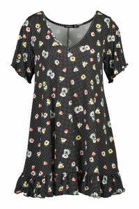 Womens V Neck Spot Floral Ruffle Shift Dress - black - 14, Black