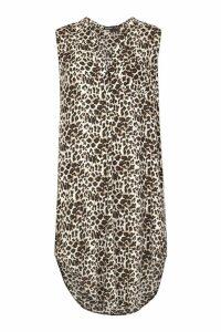 Womens Woven Leopard Sleeveless Shirt Dress - beige - 10, Beige