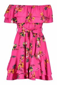 Womens Off The Shoulder Floral Frill Skater Dress - Pink - 10, Pink