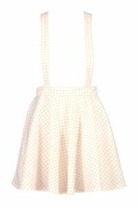 Womens Gingham Check Pinafore Skirt - orange - 10, Orange