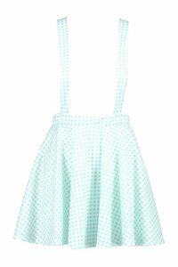 Womens Gingham Check Pinafore Skirt - green - 10, Green