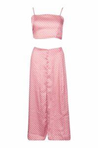 Womens Polka Dot Button Detail Midi Skirt - Pink - 14, Pink