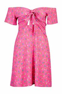 Womens Off Shoulder Tie Front Skater Dress - Pink - 16, Pink
