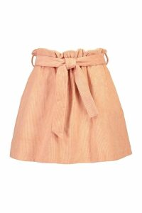 Womens Baby Cord A Line Mini Skirt - orange - 14, Orange