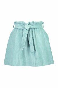 Womens Baby Cord A Line Mini Skirt - green - 14, Green