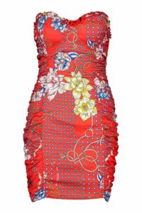 Womens Ruched Side Chain Print Dress - red - 14, Red
