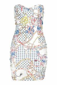 Womens Ruched Side Chain Print Dress - white - 14, White