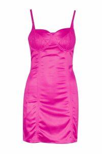 Womens Lace Trim Bustier Stretch Satin Mini Dress - Pink - 12, Pink