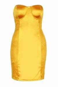 Womens Lace & Satin Bandeau Mini Dress - yellow - 6, Yellow