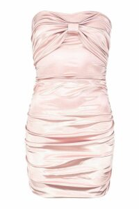Womens Ruched Bandeau Stretch Satin Mini Dress - Beige - 14, Beige