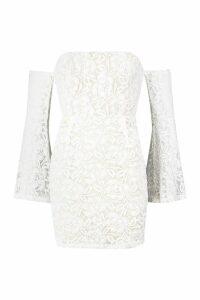 Womens Off The Shoulder Lace Mini Dress - white - 14, White