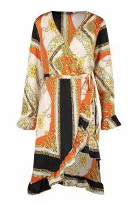 Womens Chain Print Asymmetric Ruffle Hem Tea Dress - orange - 16, Orange