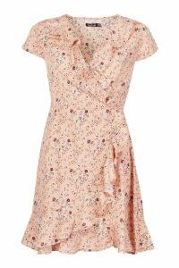 Womens Cap Sleeve Floral Print Ruffle Tea Dress - Pink - 10, Pink