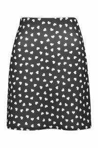 Womens Polka Dot Heart A line Mini Skirt - black - 8, Black