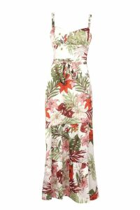 Womens Tropical Print Cupped Tiered Maxi Dress - white - 12, White