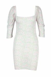Womens Square Neck Puff Sleeve Bodycon Dress - white - 14, White