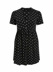 Black Polka Dot Print Longline Tunic, Black