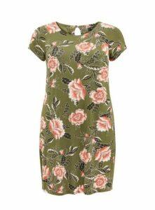 Khaki Floral Print Shift Dress, Khaki