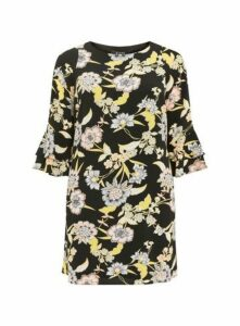 Black Floral Print Frill Sleeve Dress, Black
