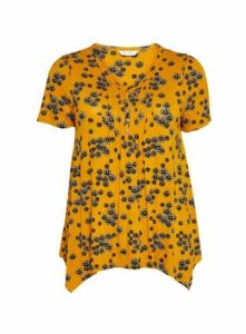 Yellow Floral Print Pintuck Top, Yellow