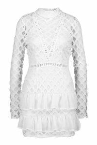 Womens Premium High Neck Statement Mini Dress - white - 14, White