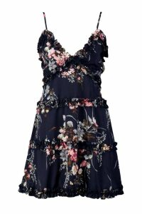 Womens Ruffle Floral Swing Dress - navy - 12, Navy
