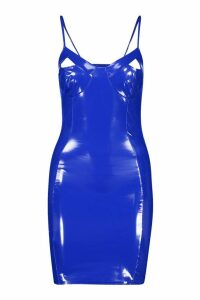 Womens Faux Leather Cut Out Cup Bodycon Mini Dress - blue - 14, Blue