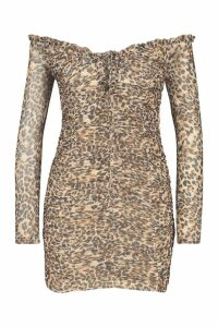 Womens Leopard Ruched Mesh Mini Dress - multi - 6, Multi