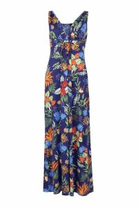 Womens Wrap Front Tropical Print Maxi Dress - blue - 8, Blue