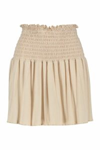 Womens Shirred Skater Mini Skirt - beige - 14, Beige