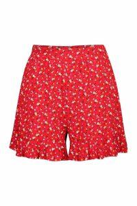 Womens Ruffle Hem Ditsy Print Flippy Shorts - red - 14, Red