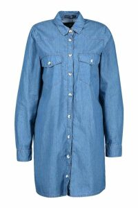 Womens Chambray Denim Shirt Dress - blue - 12, Blue