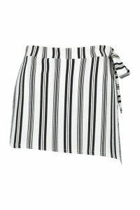 Womens Stripe Tie Detail Wrap Front Short - black - 14, Black