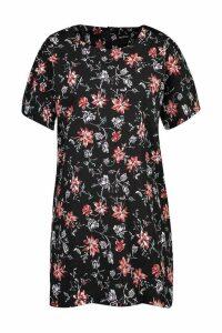 Womens Floral Print Shift Dress - black - 16, Black