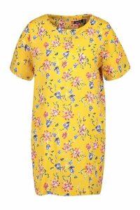 Womens Floral Print Shift Dress - yellow - 12, Yellow