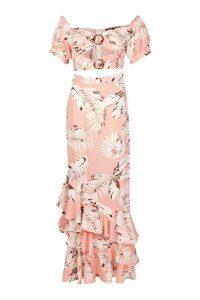 Womens Palm Print Ruffle Maxi Dress - pink - 12, Pink