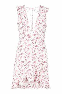 Womens Ditsy Floral Ruffle Sleeve Tea Dress - Pink - 16, Pink