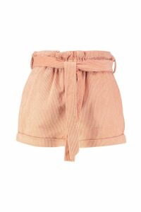 Womens Baby Cord Paperbag Waist Shorts - pink - 10, Pink