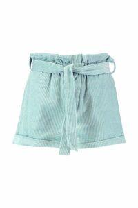 Womens Baby Cord Paperbag Waist Shorts - green - 16, Green