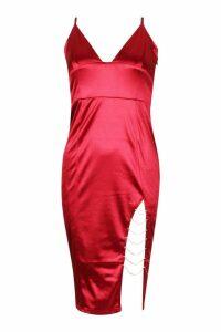 Womens Diamante Trim Stretch Satin Midi Dress - Red - 12, Red