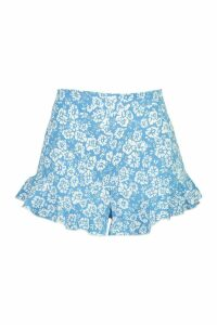 Womens Floral Flippy Shorts - blue - 14, Blue