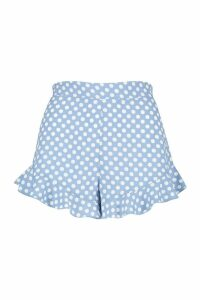 Womens Polka Dot Flippy Shorts - blue - 14, Blue